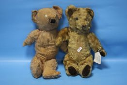 TWO VINTAGE JOINTED TEDDY BEARS, in playworn condition, have been very well lovedCondition Report: