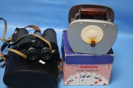 A BOXED JOHNSON CARD SHUFFLER AND A PAIR OF BINOCULARS