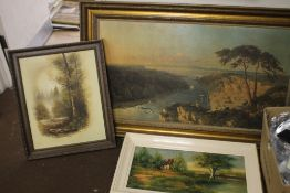 A FRAMED LANDSCAPE PRINT TOGETHER WITH TWO OIL PAINTINGS OF RURAL SCENESCondition Report:The