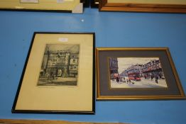 A PRINT OF A BETTY STIRLING PAINTING OF TRAMS TOGETHER WITH AN ETCHING OF CANTERBURY GATE