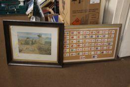 A FRAMED SET OF REGIMENTAL CIGARETTE CARDS TOGETHER WITH A FRAMED AND GLAZED PRINT 'THE BOYHOOD OF