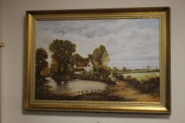 A FRAMED OIL ON CANVAS OF A RURAL SCENE