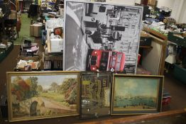 A QUANTITY OF PICTURES TO INCLUDE A LEVI STRAUSS ADVERTISING MIRROR AND A LARGE PRINT OF A LONDON