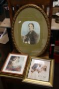 AN OVAL FRAMED PORTRAIT TOGETHER WITH A COLLECTION OF PRINTS