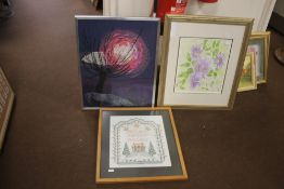 TWO FRAMED AND GLAZED MODERN TAPESTRIES TOGETHER WITH A BOTANICAL PRINT