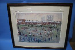 B. MCMULLEN - A FRAMED AND GLAZED PRINT OF A FOOTBALL MATCH