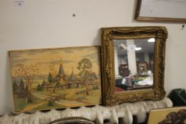 A SMALL GILT FRAMED MIRROR 35 X 30 CM TOGETHER WITH A POKER WORK PICTURE OF A RUSSIAN SCENE