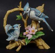 """Vogelpaar """"Blue Jay"""" by Andrea, Japan, H-15 cm, B-15 cm,"""
