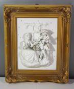 Porzellan-Reliefbild, Dresden Design, romantische Szene, gerahmt, RG 37 x 31cm.