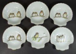 6x Muschelschalen mit Vögeldekor, 13x13 c<