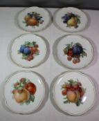 6x Obstteller, Krautheim, Früchtedekore, älter, Perlrand, 1x kl. Brandriss, D-19,5cm<b