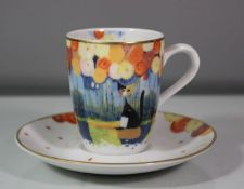 Tasse mit U.T., Goebel, Dekor von Rosina Wachtmeister, Tasse H-7cm.