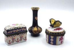 2x div. kl. Zierdöschen und Miniatur-Väschen, Limoges, France, ca. H-9cm<b
