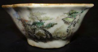 kl. Schale, China, handbemalt und chines. beschriftet, H-5 cm, D-11 cm