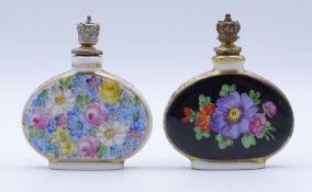 Zwei Flacons,Dresden,florales Dekor,bemalt,H-5,5cm