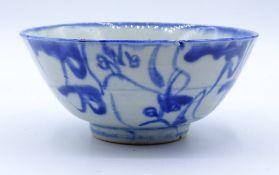 Schale China, 19.Jahrhundert?,blaumalerei,im Boden beschriftet,d-12,5cm