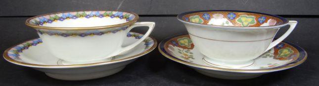2x Jugendstil-Kaffeetassen mit U.T. von Rosenthal