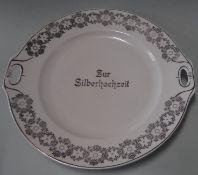 """Jugendstil-Kuchenplatte """"Zur Silberhochzeit"""", D-25 cm"""