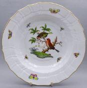 """Runde Schale """"Herend"""",Vogel - u.Schmetterlinsmotive,d-24cm,H-5,0cm"""""""""""""""""""