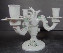 "3 flammiger Kerzenhalter ""Dresden"" aufgesetzte Blüten, H-17 cm, D-23 cm, 2 -teili"""""""""