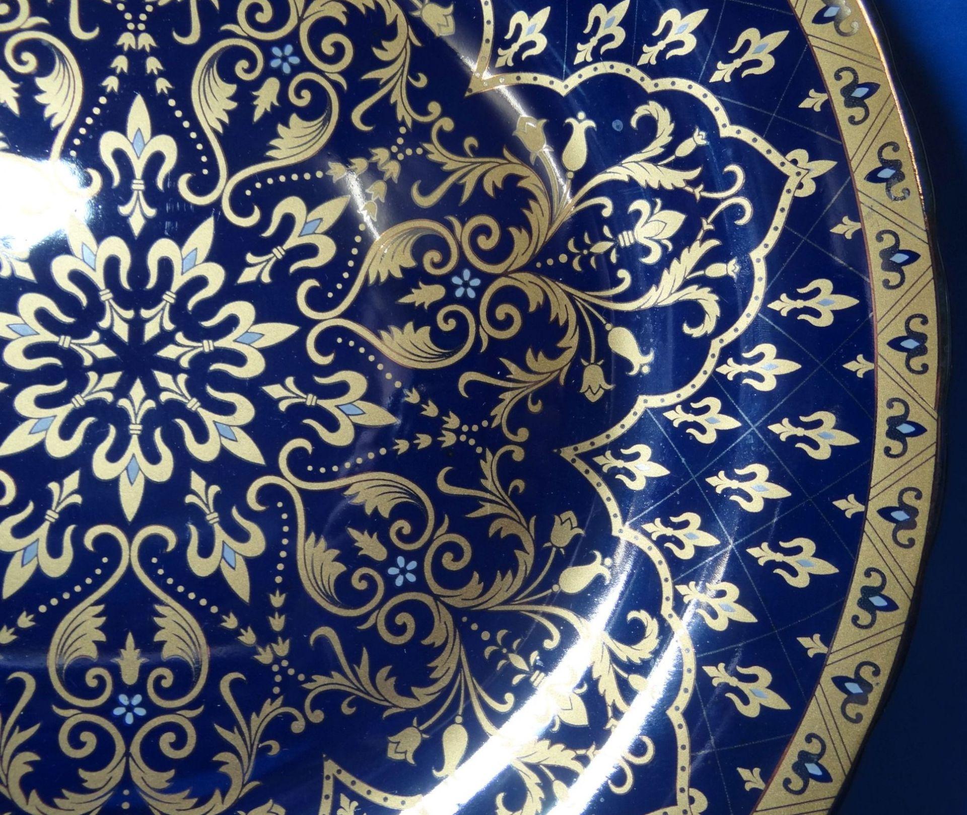 Los 1027 - grosse Platte S.A.M.A.U. England Design, Kobalt mit Gold, D-34 cm