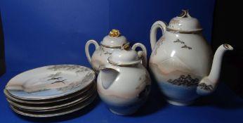 Japan. Teekern mit 5 Kuchentellern, handbemalt, Fudjiyama-Motive, älte