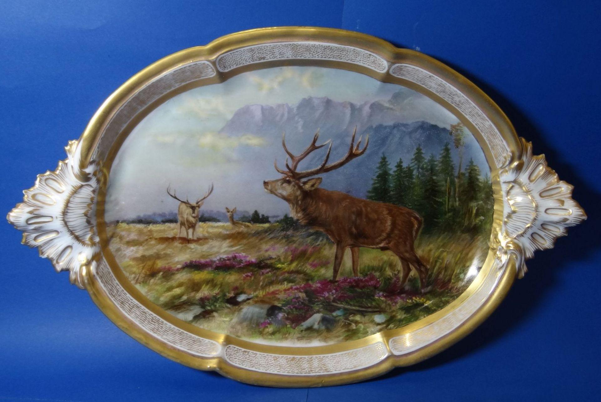 gr. ovale Platte, mit Hirsch-Gruppe,Goldstaffage, L-41 cm, B-27 cm - Bild 6 aus 7