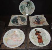 "5 Wandteller ""Limoges"" Les femmes de siecle-1875! limitiert, in OVP tw. mit Expertise, D-21,5 cm,"