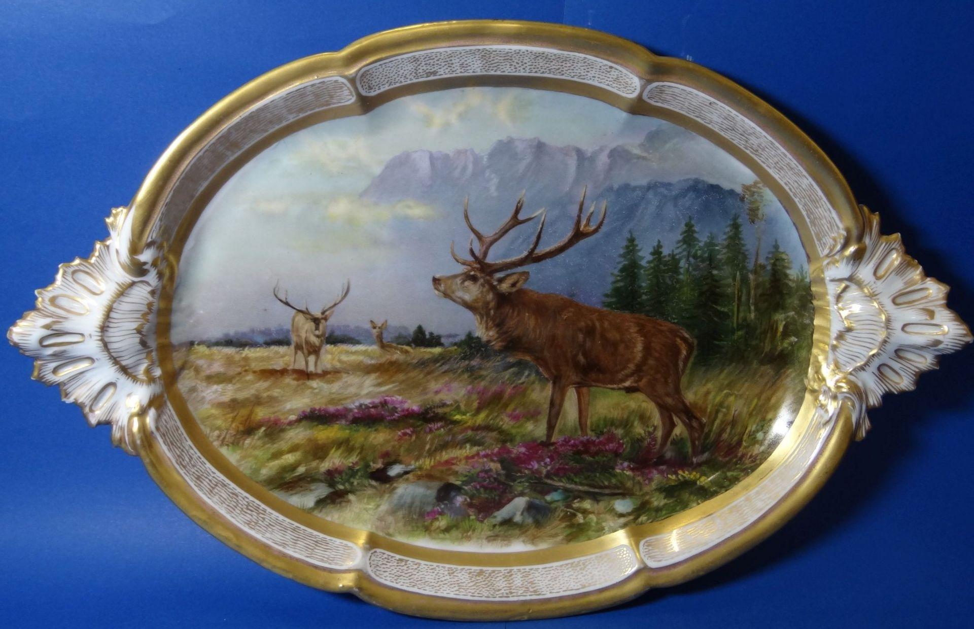 gr. ovale Platte, mit Hirsch-Gruppe,Goldstaffage, L-41 cm, B-27 cm - Bild 7 aus 7