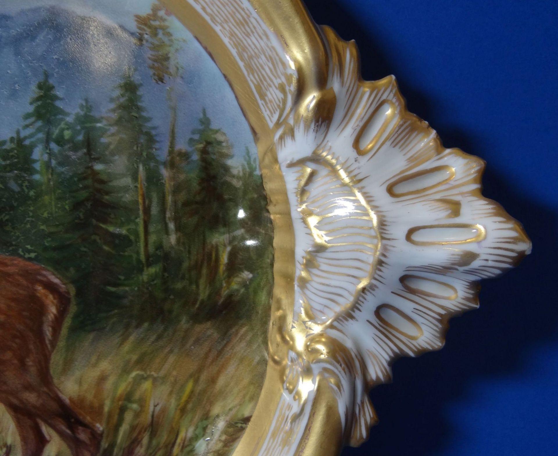 gr. ovale Platte, mit Hirsch-Gruppe,Goldstaffage, L-41 cm, B-27 cm - Bild 3 aus 7