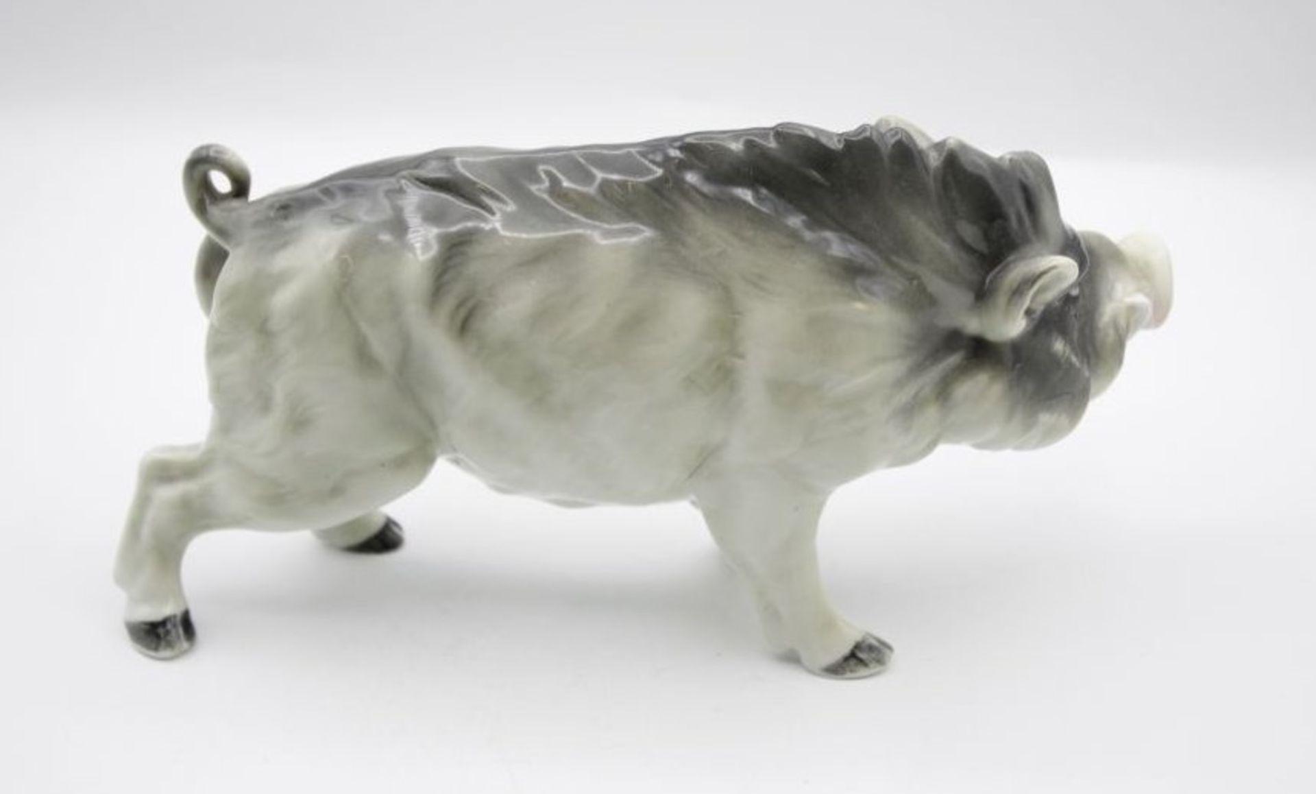 Los 1053 - Figur, Eber, polychr. Bemalung in Unterglasurfarben, ungemarkt, H-11cm L-21cm.