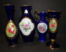 4x div Vasen mit Kobalt/Gold und Blumenmalerei, H-23 bis 26 cm,