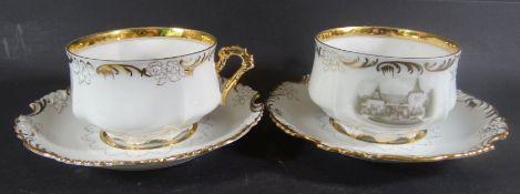 """2x gr. Tassen mit U.T. """"Ohme"""" Niedersalzbrunn/Schlesien, mit Hausansicht, dat. 1899, Goldstaffage,"""