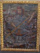 anonymes grosses Gemälde, Portrait eines Kriegers vor Stadtsilhouette, wohl Zentralasien? Öl/Leinen, kl. Löcher etc,  restaurierungs bedürftig, Alters-u. Gebrauchsspuren, gerahmt, RG 110x86 c   Auktionshalle Cuxhaven GBR