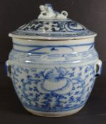 Ìngwertopf, China, Blaumalerei, H-16 cm, D-15 cm, Deckelrand mit Chi