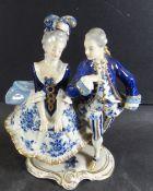 """Galantes Paar """"Aelteste Volkstedt"""" Kobalt mit Gold, H-20 cm, B-16 cm"""