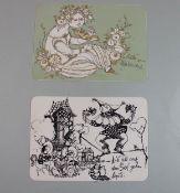 2x Rosenthal-Karten, Motiv 1 und 14, je 11,5 x 16,5cm.