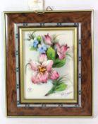 Wandbild mit plastischer Rose, Capodimonte, signiert, gerahmt, RG 27 x 22cm.