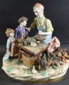 "gr. Figurengruppe ""Schuster mit Kindern"" Sitzendorf, bemalt, H-22 cm, 23x17 cm, gut erhalten"