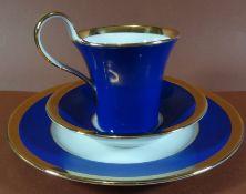 """kompl. Kaffeegedeck """"Fürstenberg"""" Kobalt mit Gold, gut erhalte"""