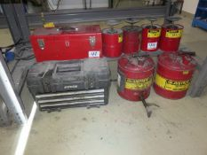 LOT - TOOL BOXES + RED SOLVENT CANS