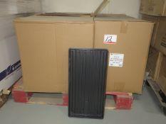 "BOXES- EAST JORDAN PLASTICS, AGF HC AF-GERMINATING H/DUTY BLACK TRAYS APPROX 10 3/4"" X 21"" X 1 1/4""H"