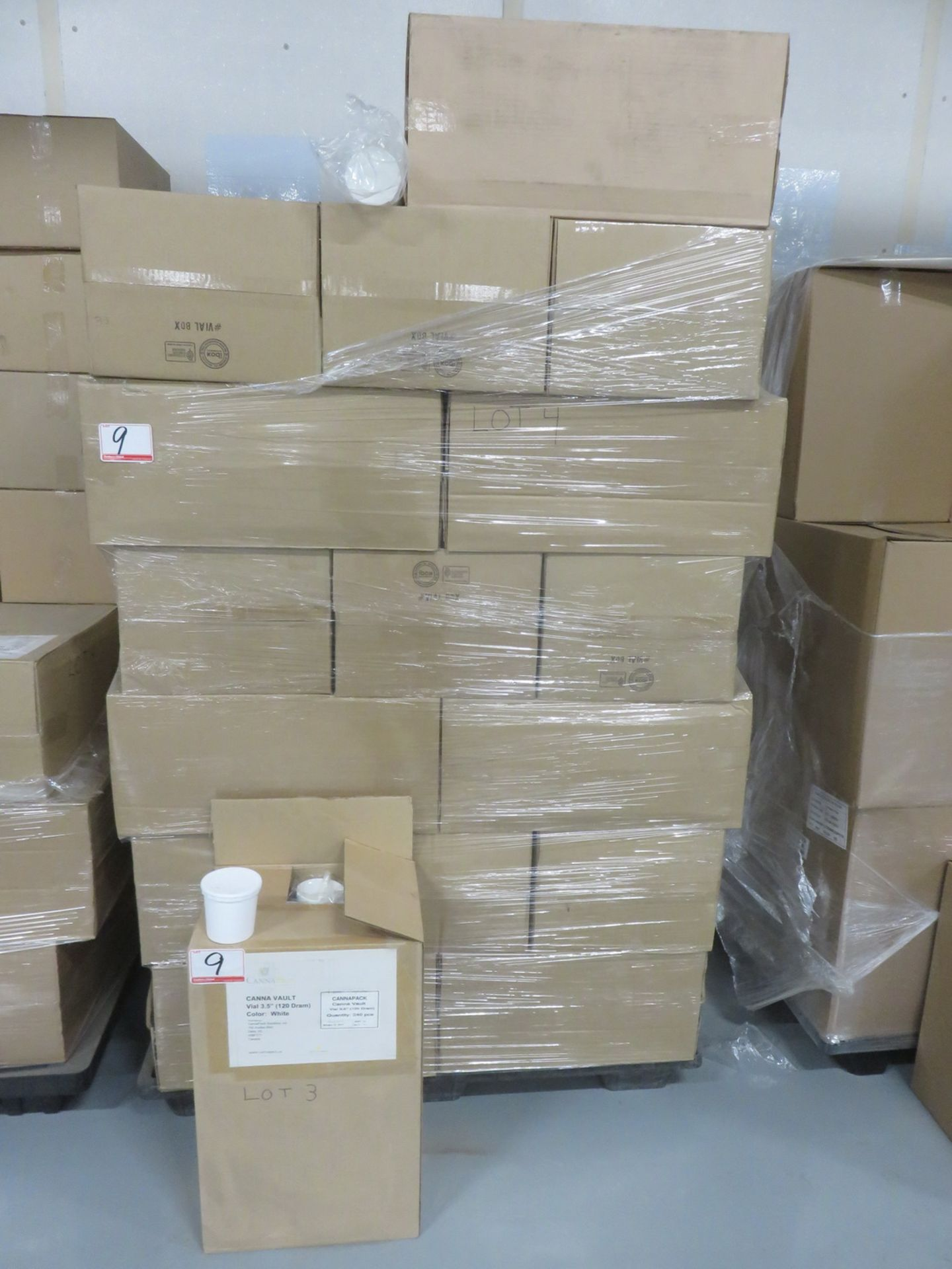 """Lot 9 - LOT - (33 BOXES) - CANNA PACK CANNA-VAULT VIAL 3.5"""" (120 DRAM) WHITE PLASTIC CANISTERS (240 PCS/BOX)"""
