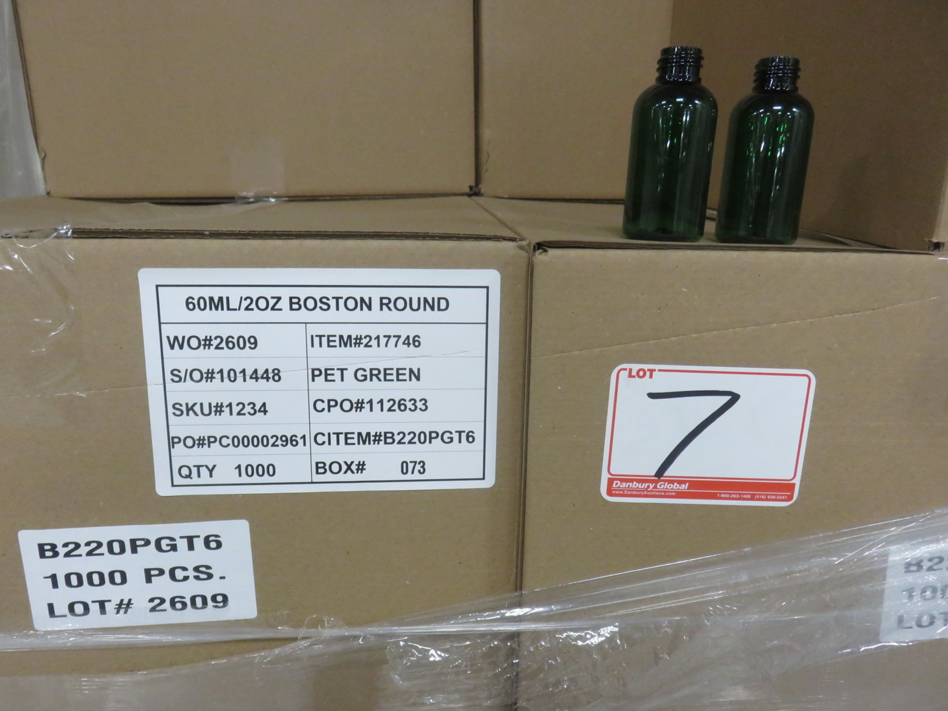 Lot 7 - BOXES - PET GREEN BOTTLES - 60ML / 2OZ BOSTON ROUND - (1000 PCS/BOX) (BOTTLES ONLY - NO CAPS)