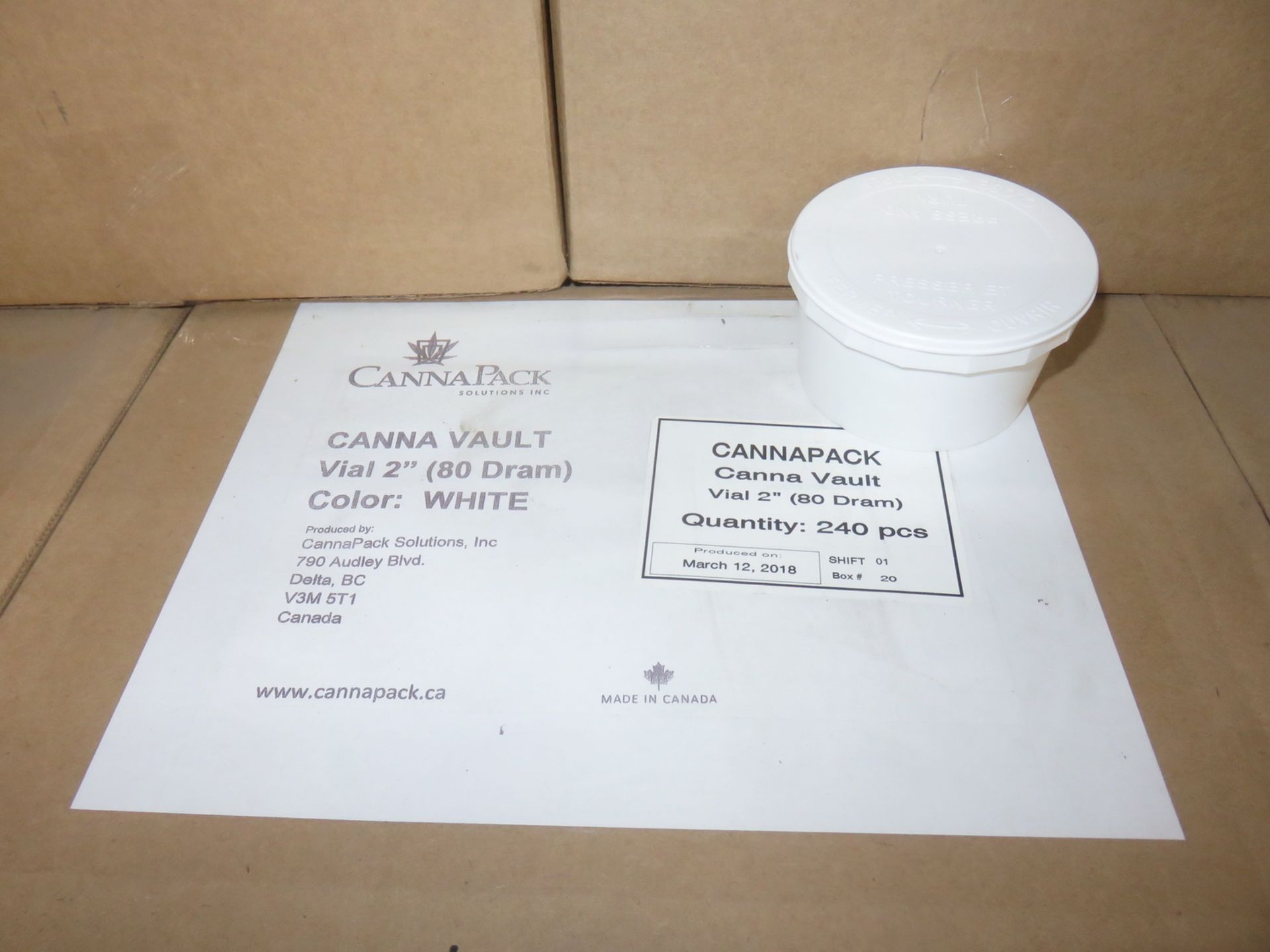 """Lot 10 - BOXES - CANNA PACK CANNA-VAULT VIAL 2"""" (80 DRAM) WHITE CANISTERS W/ LIDS (240 PCS/BOX)"""
