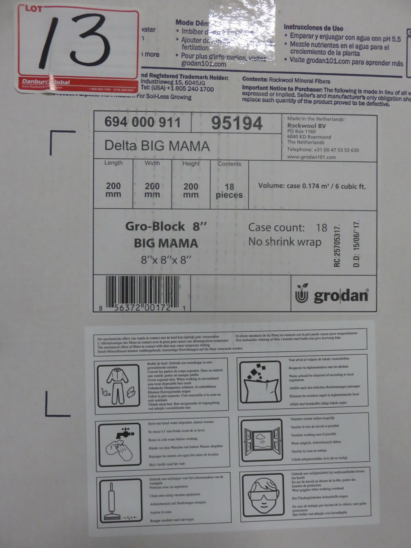 "Lot 13C - BOXES - GRODAN 95194 DELTA BIG MAMA 8"" GRO-BLOCK 8 X 8 X 8"" (18 PCS/BOX)"