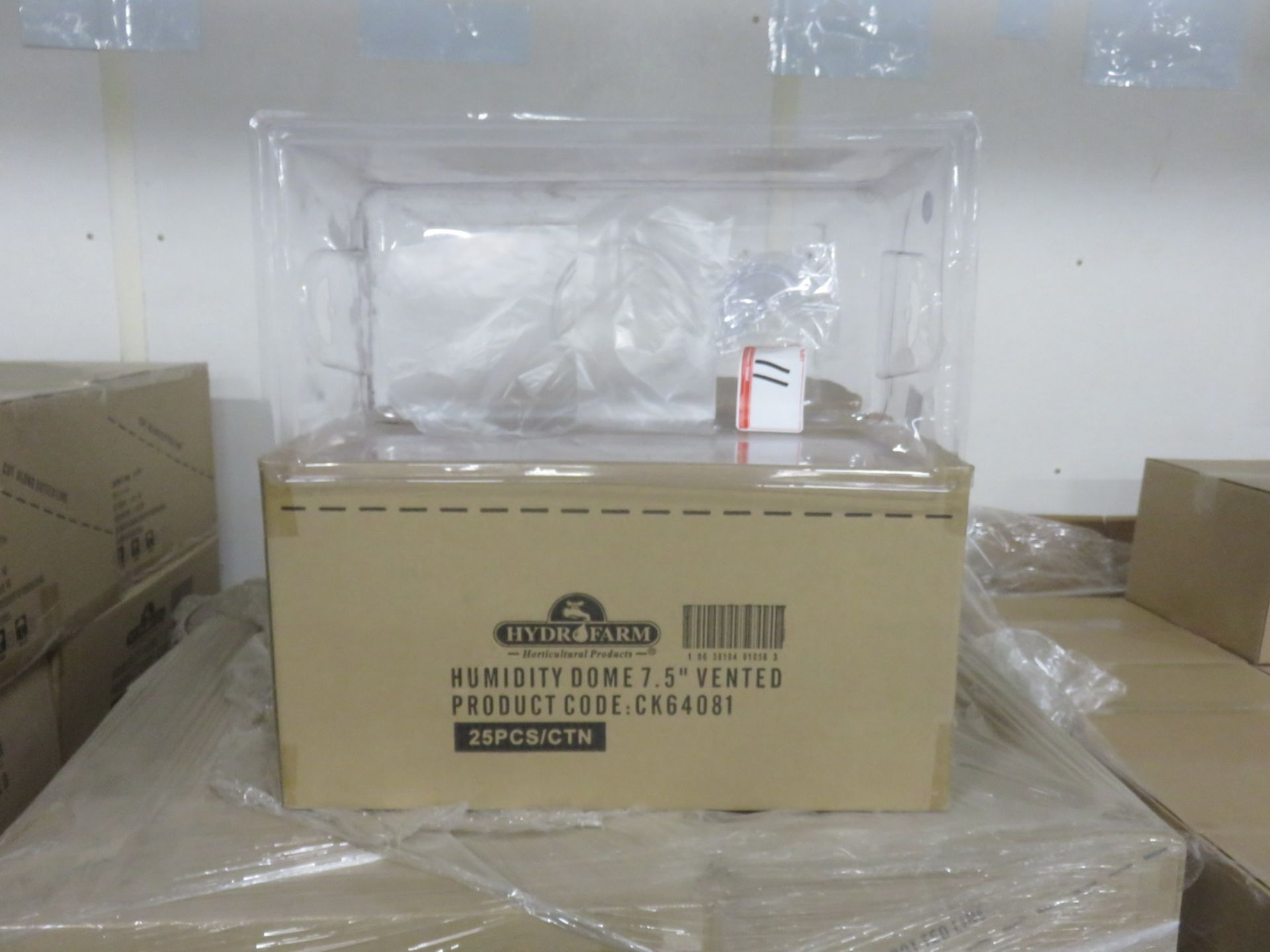 "Lot 11A - BOXES - HYDROFARM HUMIDITY DOME 7.5"" VENTED CONTAINERS (25 PCS/BOX)"