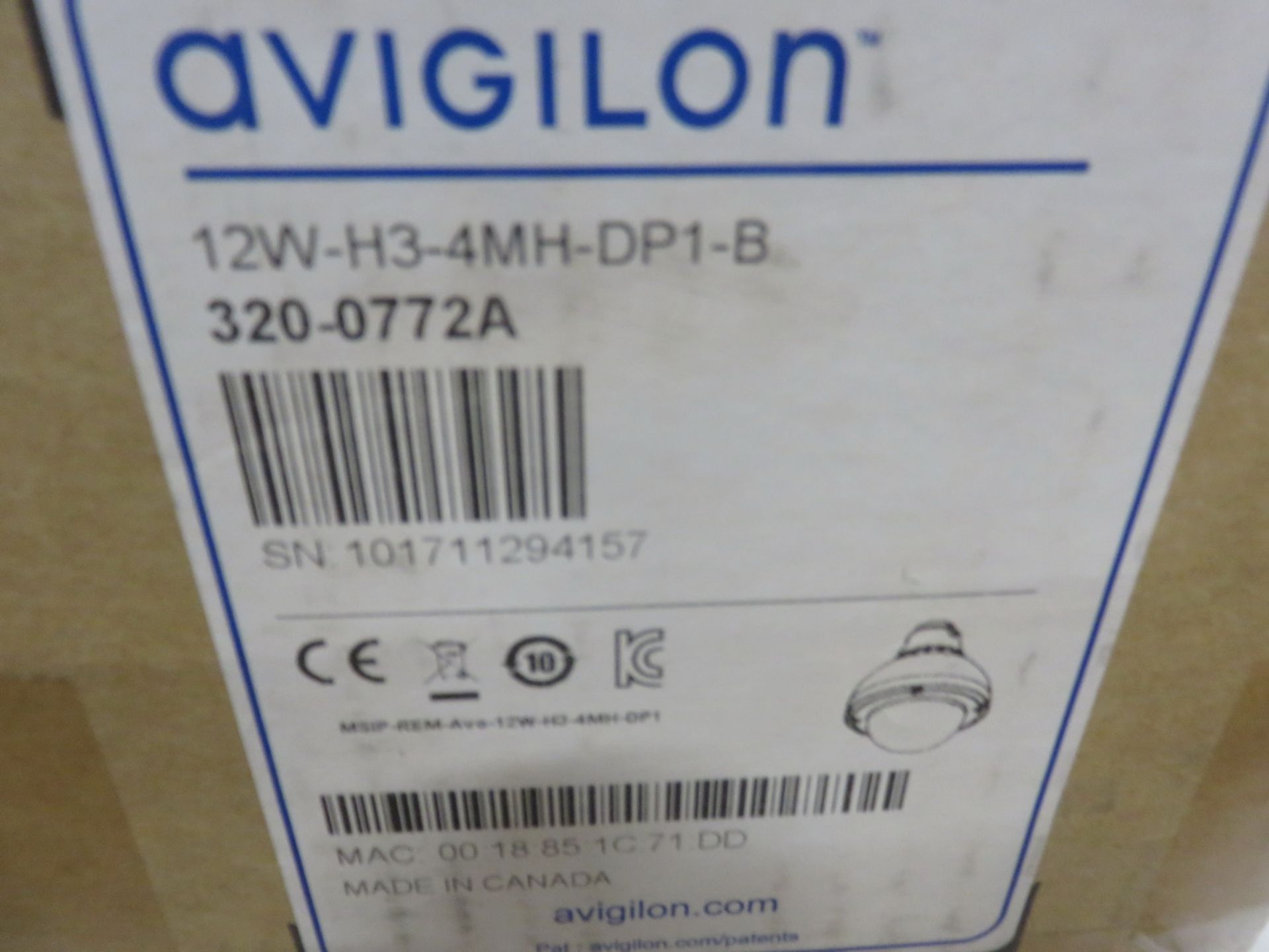 Lot 22 - NEW - AVIGILON MODEL (12W-H3-4MH-DP1-B) DOME SECURITY CAMERA