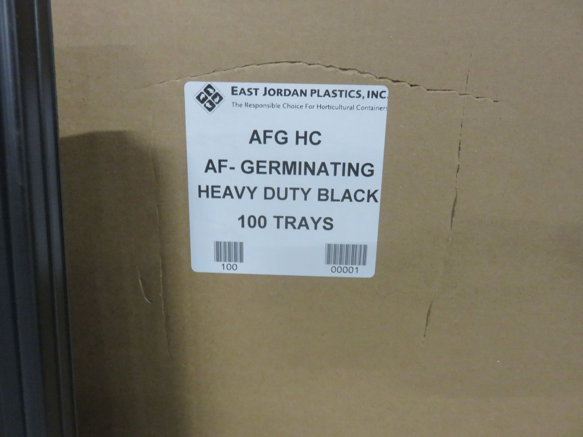 "Lot 12 - BOXES- EAST JORDAN PLASTICS, AGF HC AF-GERMINATING H/DUTY BLACK TRAYS APPROX 10 3/4"" X 21"" X 1 1/4""H"