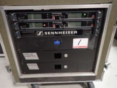 LOT - SENNHEISER 3000 SERIES 4-CHANNEL WIRELESS 600MHZ MIC SYSTEM C/W (2) EM3032 MIKROPORT RECIEVER